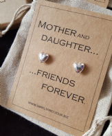 Mother Daughter Friends Forever Solid Heart Earrings